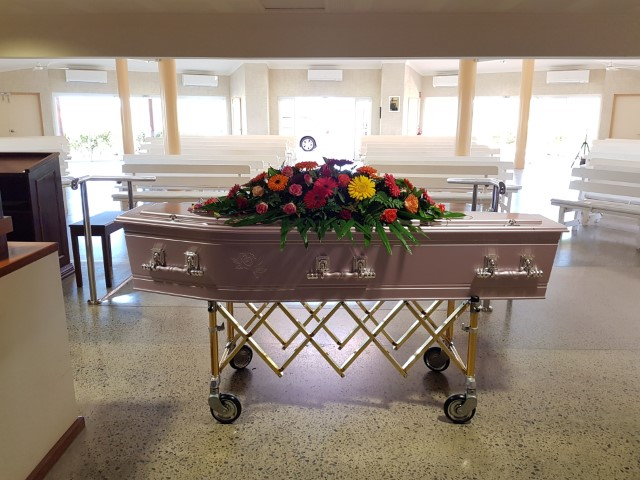 Coffin in the crematorium at Geraldton Cemetery