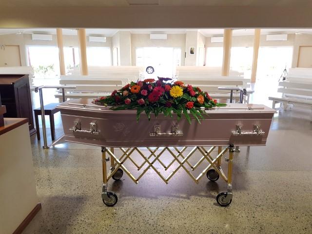 Coffin in the crematorium at Geraldton Cemetery